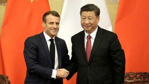 El presidente Xi Jinping y el presindente Emmanuel Macron