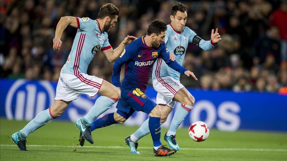Messi, en una acción del partido contra el Celta de Copa.