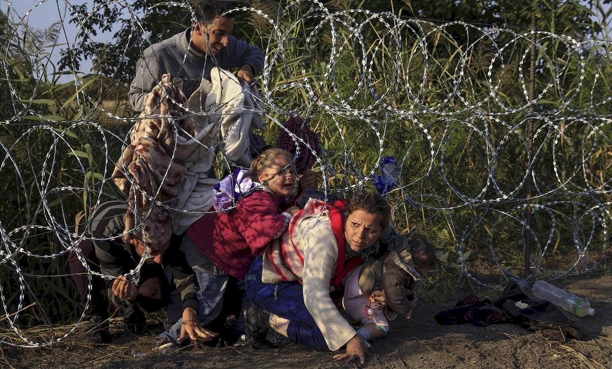 Migrantes sirios cruzan una alambrada de concertinas en la localidad húngara de Röszke, en la frontera con Serbia.