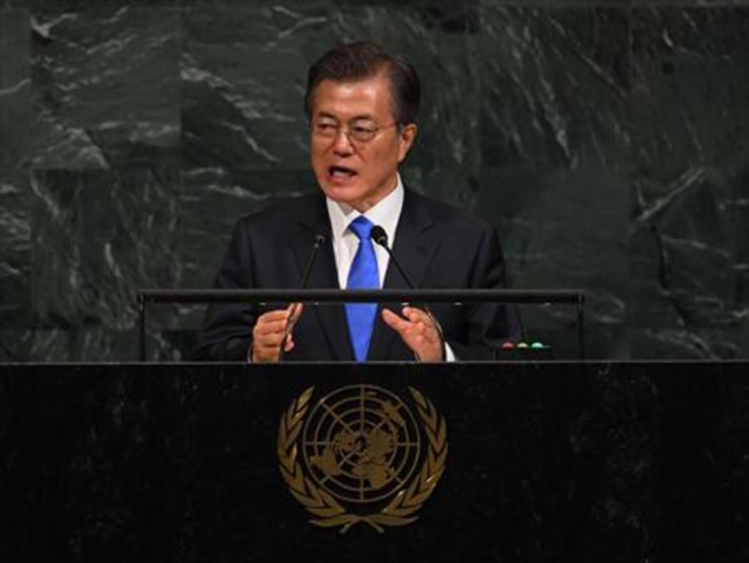 Moon Jae-in, presidente de Corea del Sur, en las Naciones Unidas.