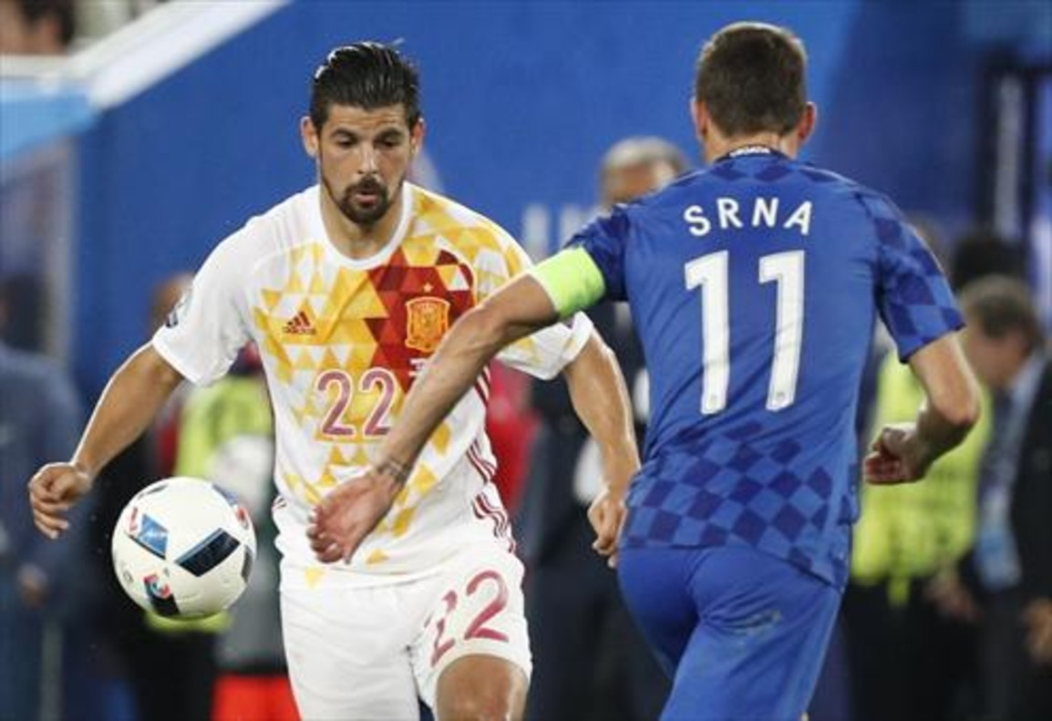 Morata y Nolito, durante el partido de anoche en Burdeos, ante la selección de Croacia.