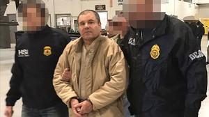 El narcotraficante mexicanoJoaquín Guzmán, El Chapo, tras ser detenido y extraditado a EEUU, el pasado mes de enero.