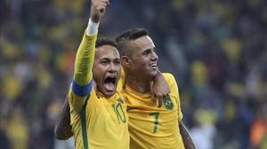 Neymar y Luan, los autores de los dos goles de Brasil.
