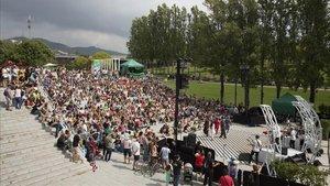 El parque de la Trinitat, durante las fiestas de la Mercè.