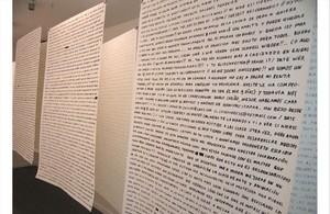 Pieza deAnnegien van Doorn, en la exposición 'Siga los rastros como si fuera miope', en el Arts Santa Mònica.