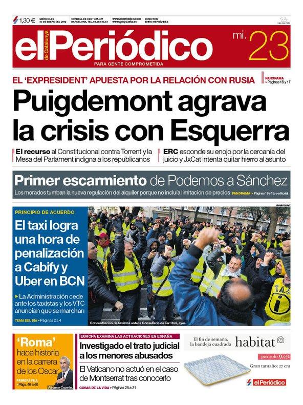 La portada de EL PERIÓDICO del 23 de enero del 2019