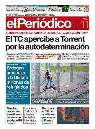 La portada de EL PERIÓDICO del 11 de octubre del 2019