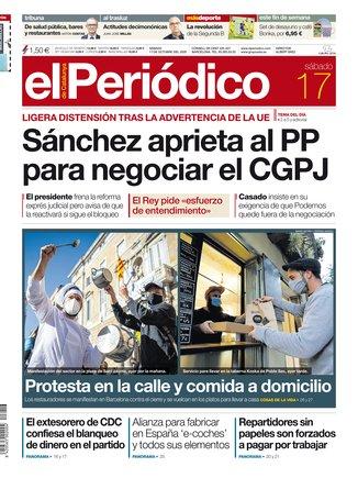 La portada de EL PERIÓDICO del 17 de octubre del 2020
