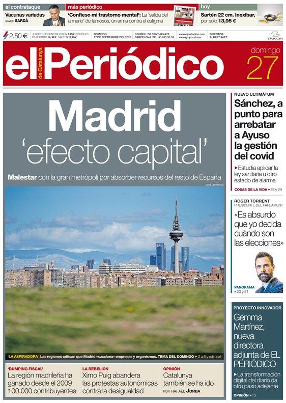 La portada de EL PERIÓDICO del 27 de septiembre del 2020.