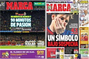 La portada del Marca de hoy, 3 de diciembre del 2016, junto a la del 13 de junio del 2013.