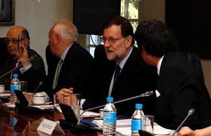 El presidente del Gobierno en funciones, Mariano Rajoy, en la reunión del Consejo de Seguridad para tratar de la seguridad de los españoles en Venezuela, este viernes.