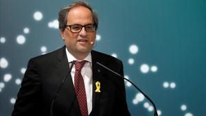 Quim Torra, el pasado 15 de junio, durante su intervención en un foro empresarial en La Seu dUrgell.