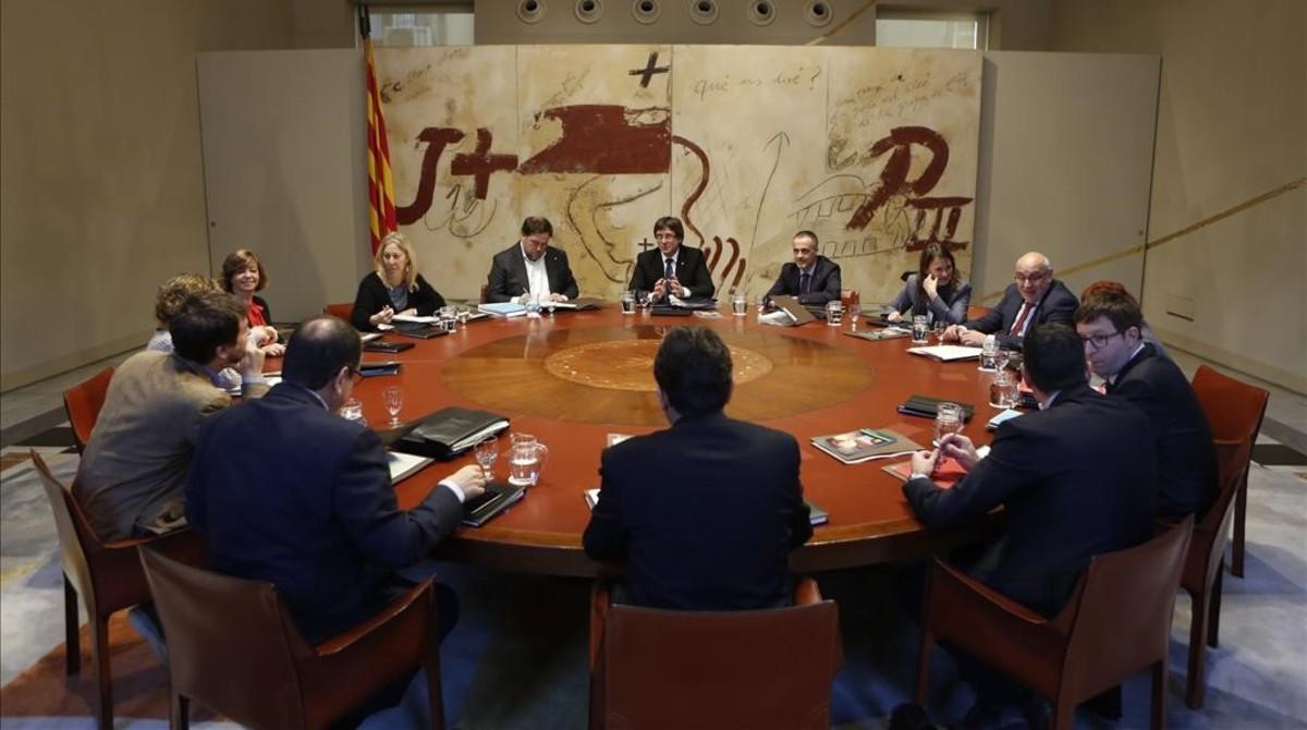 Reunión de Govern en el Palau de la Generalitat.