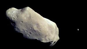 Representación de un asteroidecaptado por la sonda Galileo