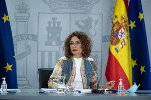 La portavoz del Gobierno, María Jesús Montero, interviene durante la rueda de prensa posterior al Consejo de Ministros. En Madrid, (España), a 8 de septiembre de 2020.