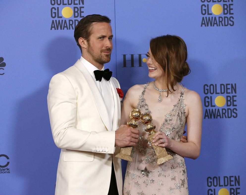 Ryan Gosling y Emma Stone, mejor actor y mejor actriz en la categoría de comedia/musical por 'La la land'.