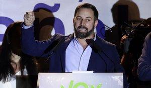 Santiago Abascal, en su discurso tras saberse los resultados de las elecciones.