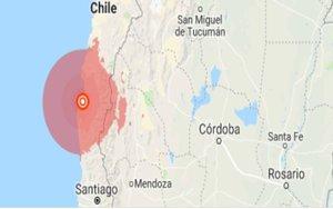 Mapa de un sismo en Chile.