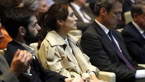 Tamara Falcó asiste en Madrid a la presentación del libro de Mario Vargas Llosa 'La llamada de la tribu', el pasado día 21.