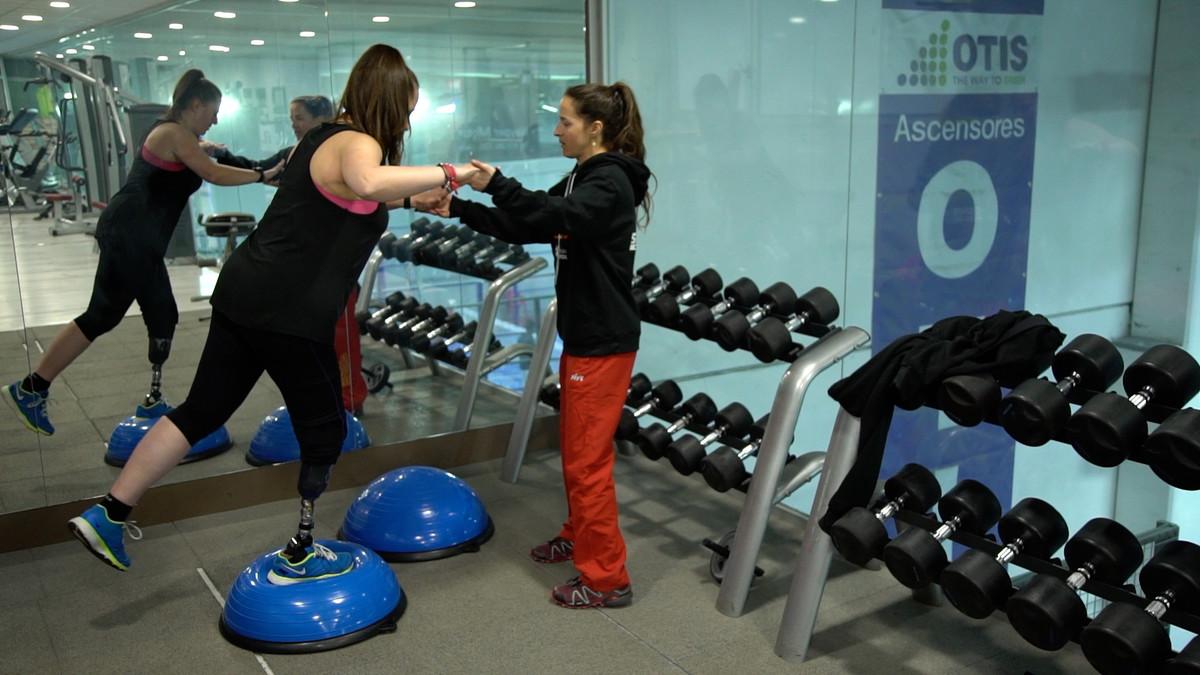 La paralímpica catalana Astrid Fina, en uno de sus entrenamientos.