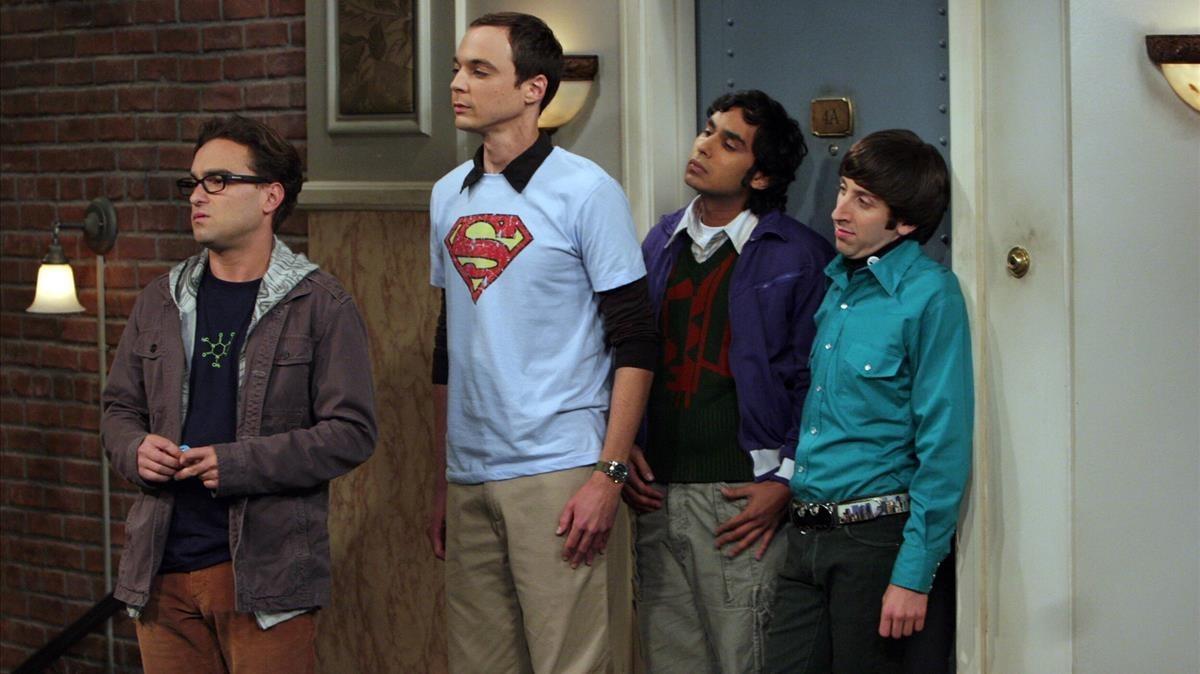Johnny Galecki, Jim Parson, Kunal Nayyar y Simon Helberg,protagonistas masculinos de la telecomedia The Big Bang Theory.