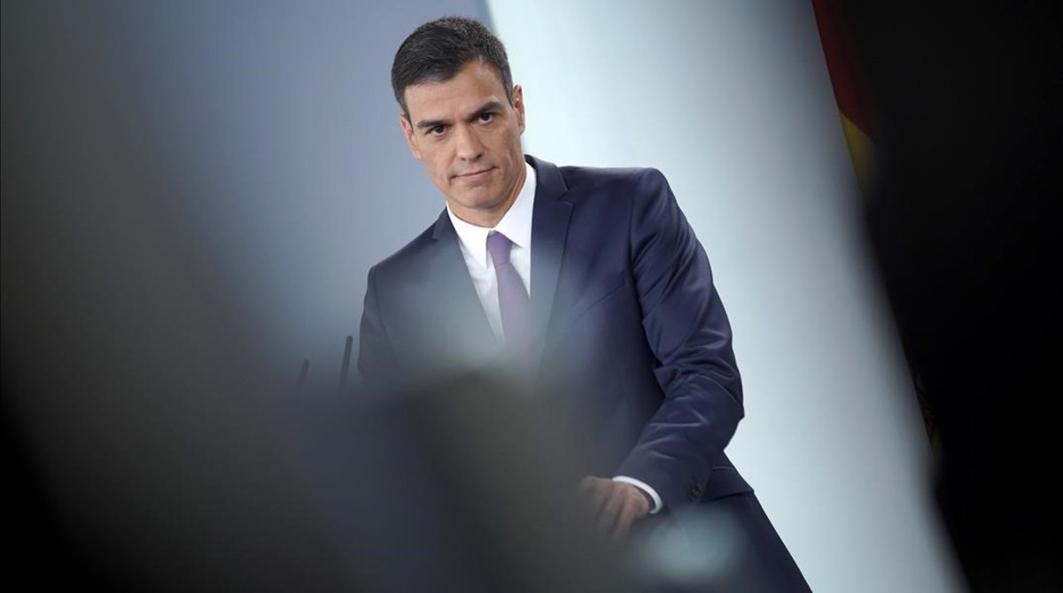 El presidente del Gobierno, Pedro Sánchez, en su comparecencia de prensa antes de marcharse de vacaciones.