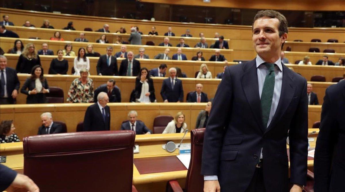 El presidente del Partido Popular,Pablo Casado,durante la reunion del Grupo Popular en el Senado