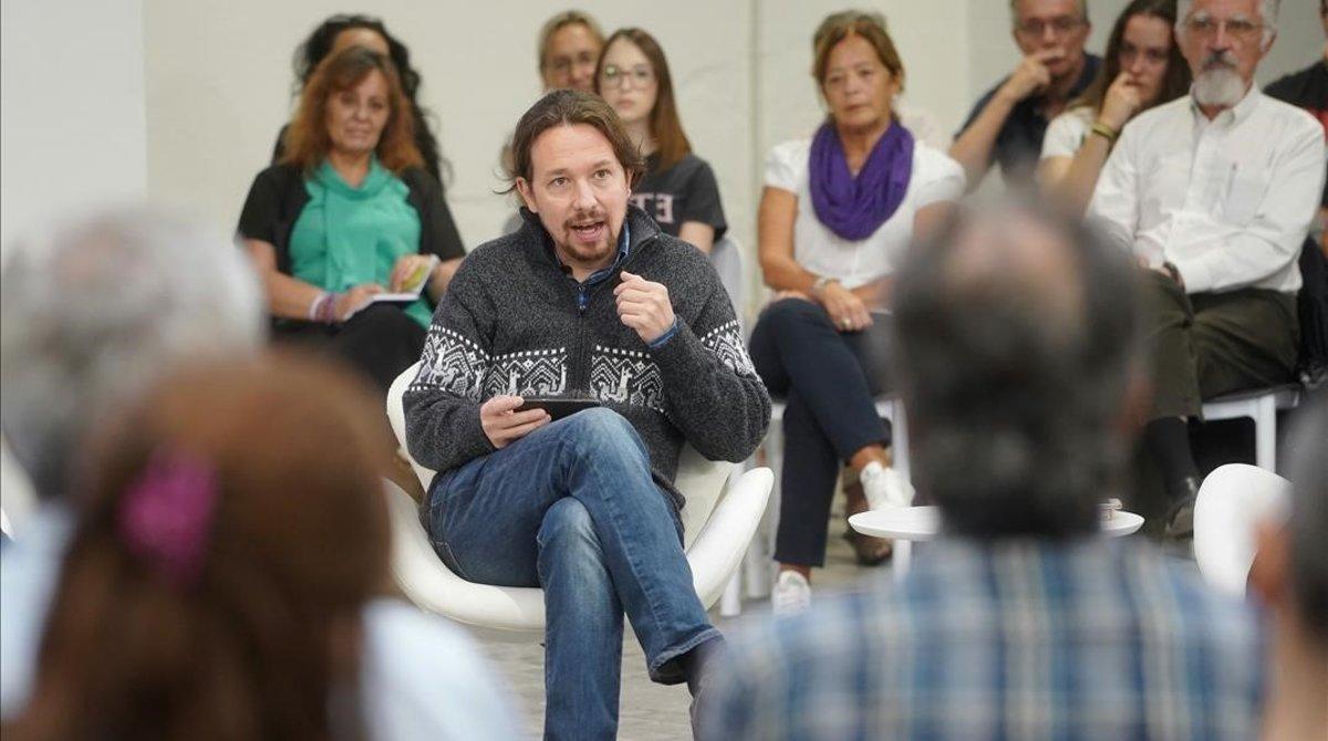 El candidato de Unidas Podemos, Pablo Iglesias, en el debate Emergencia climática y Lucha ambientales en España