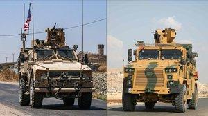 Vehículos blindados de la coalición liderada por EEUU en la ciudad de Ras al-Ain, en la provincia siria de Hasakeh, cerca de la frontera turca, el 28 de julio de 2019 y un convoy de vehículos blindados turcos que se dirigen hacia el punto de cruce de Bab al-Hawa entre Siria y Turquía el 20 de junio de 2019