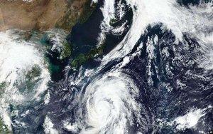 Vista satelital del tifón Hagibis sobre el territorio japonés.
