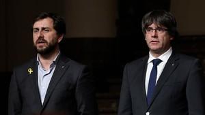 Toni Comín iCarles Puigdemont, a Brusseŀles.