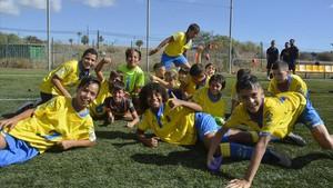 Sesión de entrenamiento de uno de los equipos alevín de la UD Las Palmas.