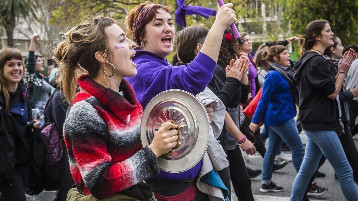 Manifestación feminista en Valencia, el 8 de marzo del 2018.