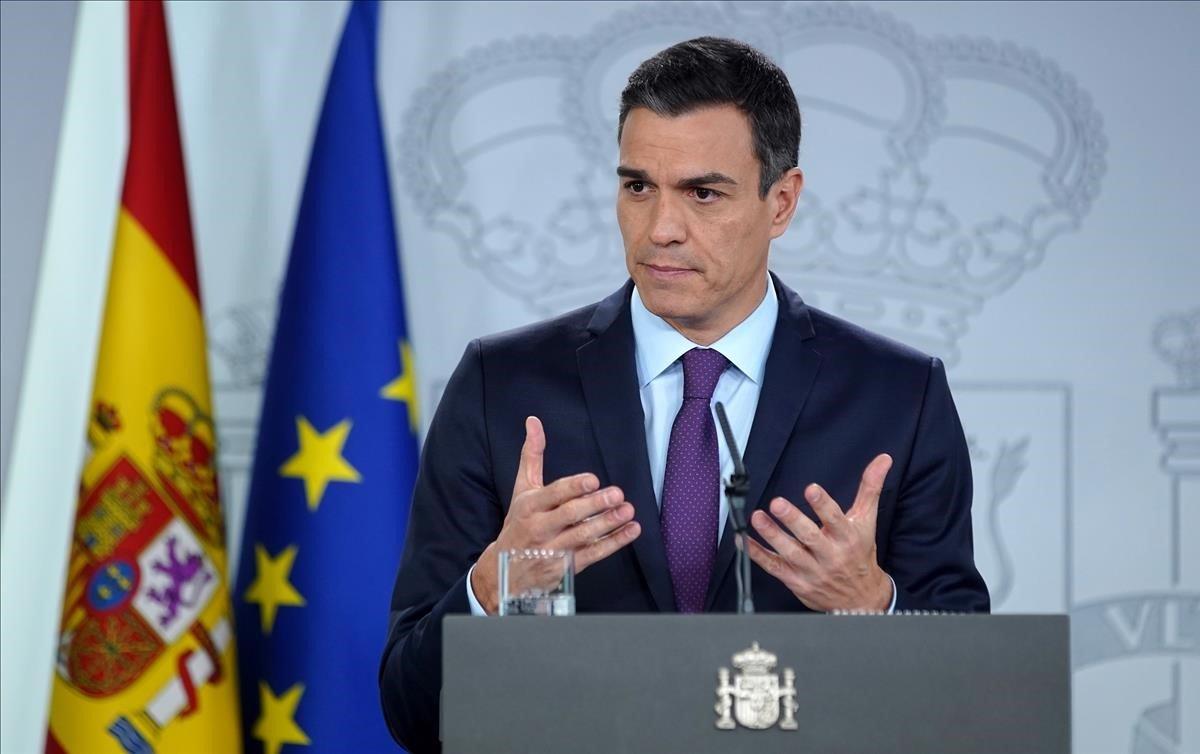 El presidente del Gobierno, Pedro Sánchez, durante la rueda de prensa posterior al Consejo de Ministros.