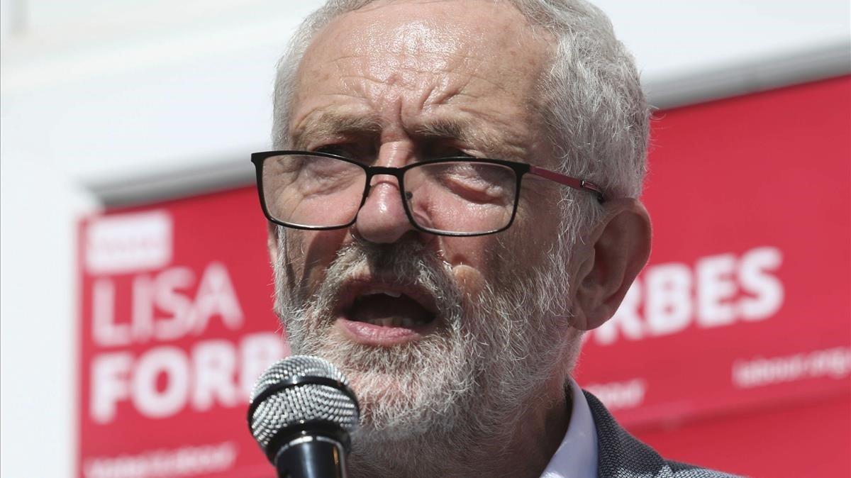 El líder laborista Jeremy Corbyn en un acto de partido este sábado 1 de junio.
