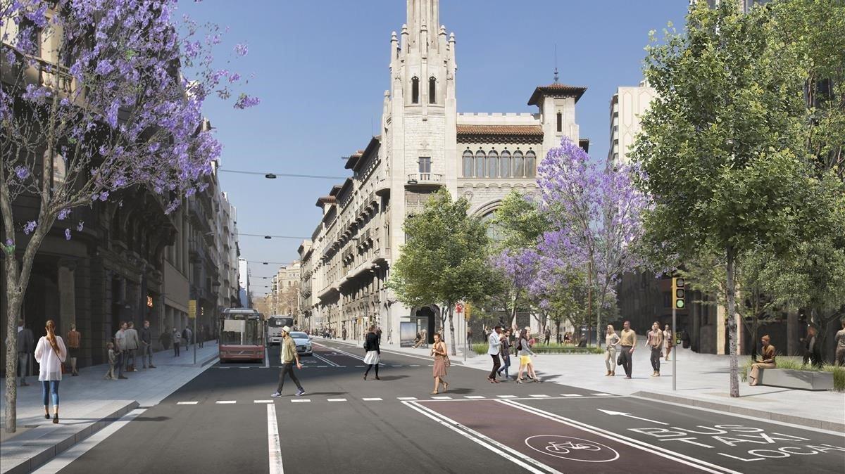 Imagen virtual de la Via Laietana después de la reforma, con la nueva distribución de carriles yla calle de Jonqueres pacificada.