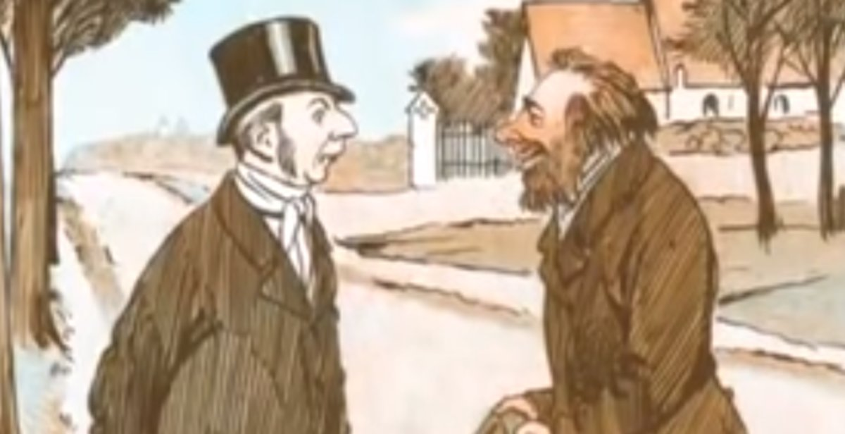 Dibujo de un rico y un pobre en el polémico vídeo emitido en un colegio de Madrid.
