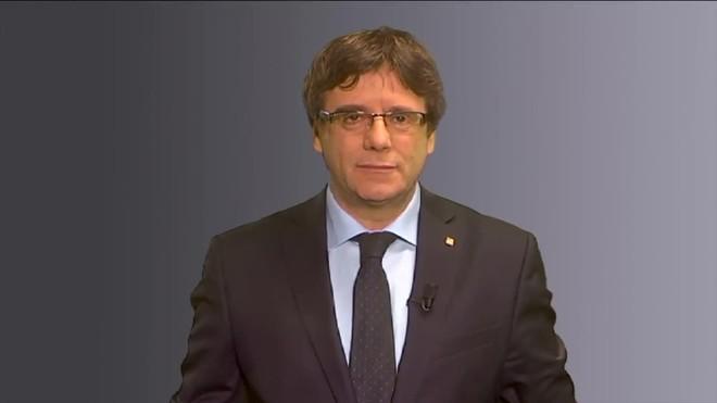 Carles Puigdemont en su mensaje desde Bruselas