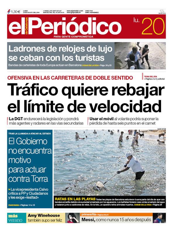 La portada de EL PERIÓDICO del 20 de agosto del 2018