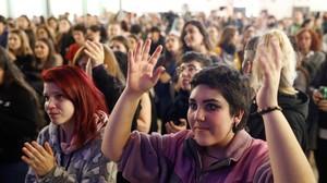 Acto feminista en Madrid en apoyo de la huegla del 8 de marzo.