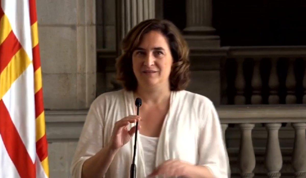 Ada Colau, en la presentación del acuerdo de Gobierno de Barcelona.