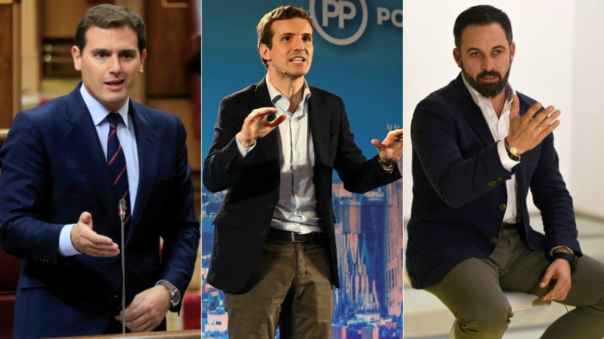 Albert Rivera, Pablo Casado y Santiago Abascal