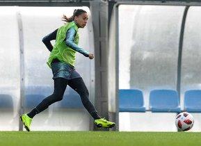Andressa Alves, en el entrenamiento del viernes.