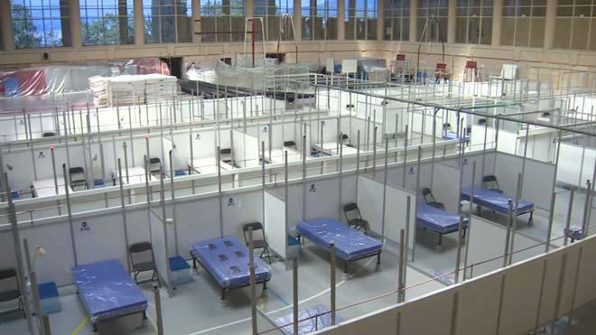 Así es el pabellón Inefc de Barcelona, con espacio para 252 camas.
