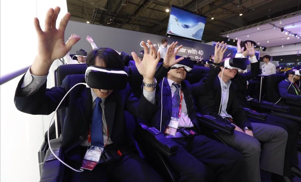 Atracción virtual en el stand de Samsung en el último Mobile World Congress, en Barcelona.