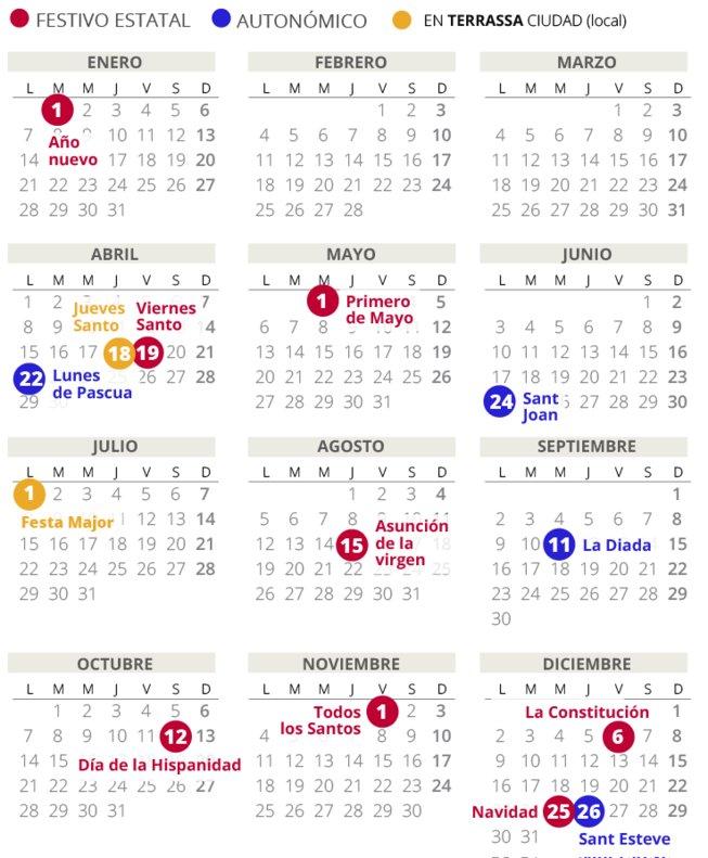 Calendario Junio 2019 Para Imprimir Pdf.Calendario Laboral Terrassa 2019 Con Todos Los Festivos