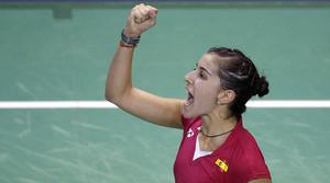 Carolina Marín, feliç després d'imposar-se a la taiwanesa Tzu Ying Tai en semifinals de l'Open de París.