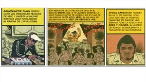 Tres viñetas de Hip hop family tree, con Grandmaster Flash, Kool Herc y Afrika Banbaataa, la santísima trinidad de los orígenes del hip hop.