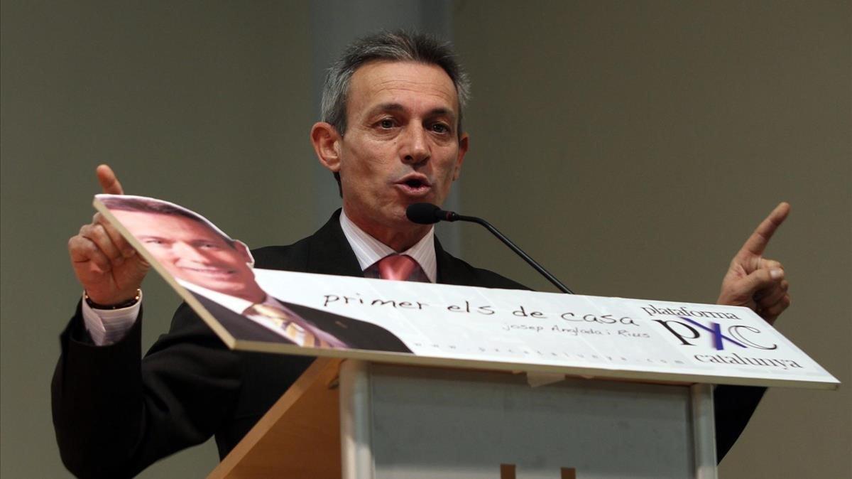 Josep Anglada, en un acto de Plataforma per Catalunya en el 2010