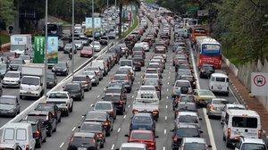 Embotellamiento de tráfico en las calles de Sao Paulo.
